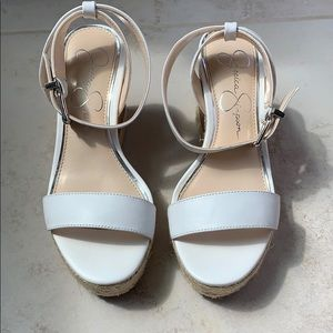 Jessica Simpson Maylra leather white wedges